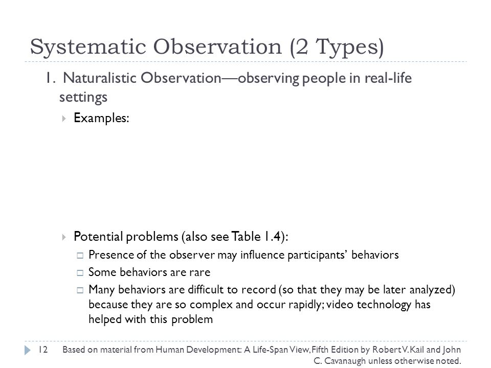 Systematic Observation (2 Types)