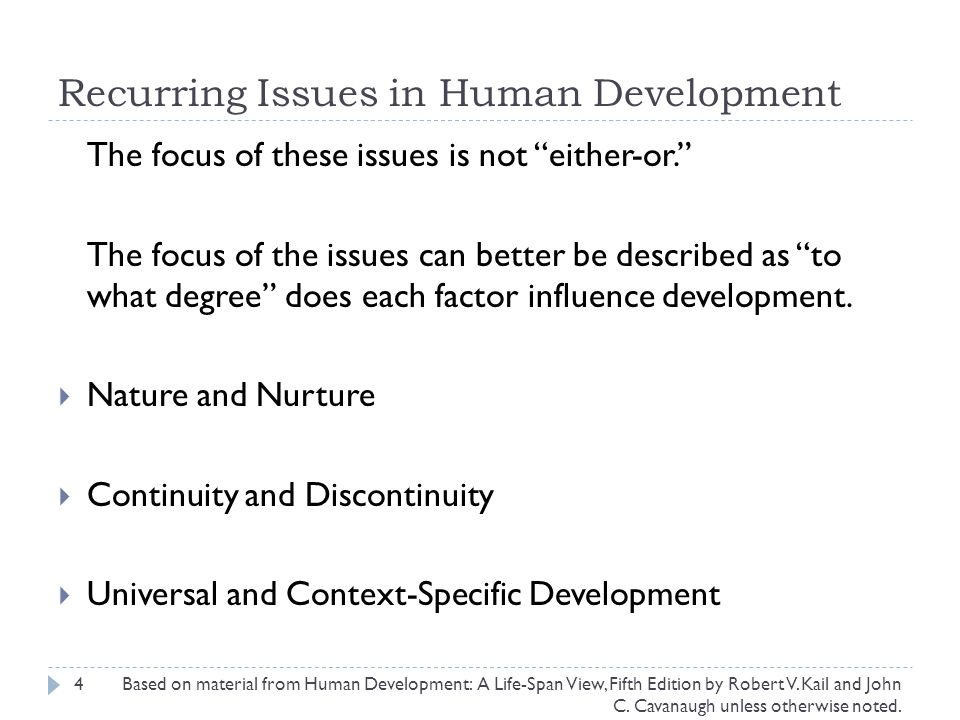 Recurring Issues in Human Development