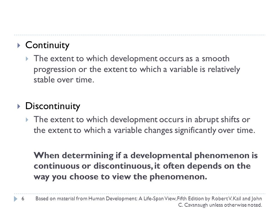 Continuity Discontinuity