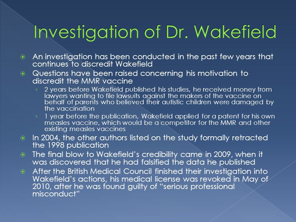 Investigation of Dr. Wakefield