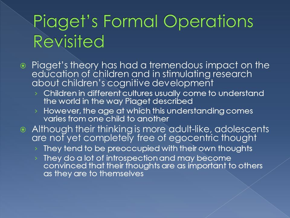 Piaget's Formal Operations Revisited