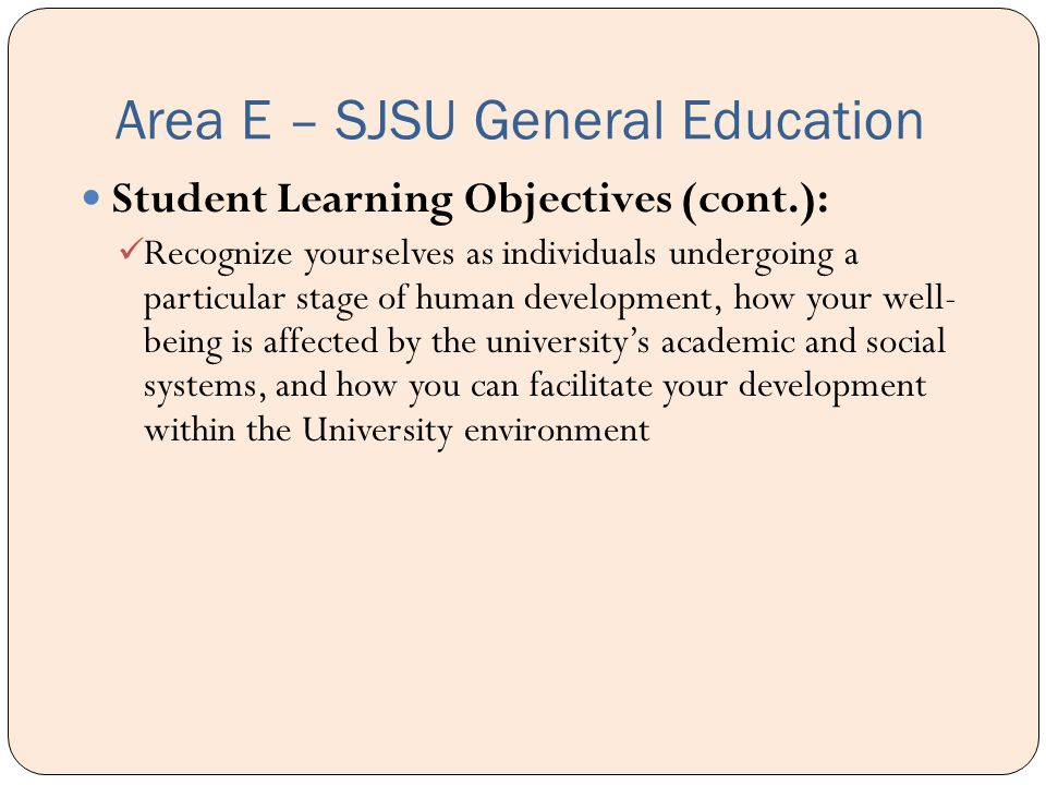 Area E – SJSU General Education