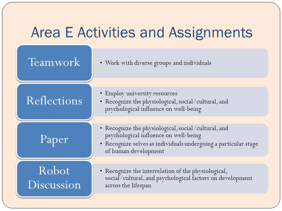 Area E Activities and Assignments