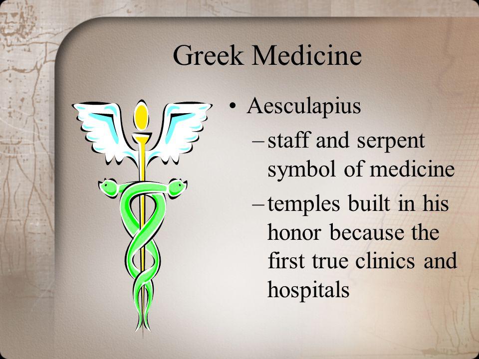 Greek Medicine Aesculapius staff and serpent symbol of medicine