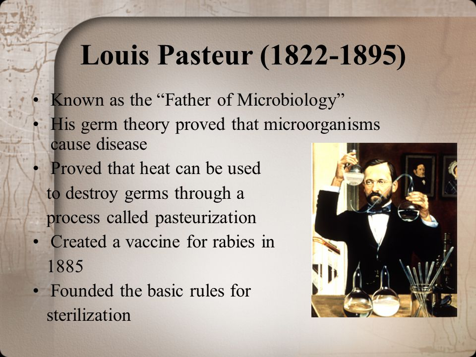 Louis Pasteur (1822-1895) Known as the Father of Microbiology