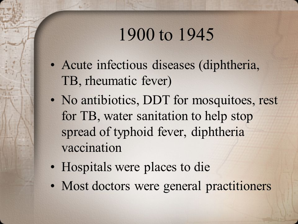 1900 to 1945 Acute infectious diseases (diphtheria, TB, rheumatic fever)