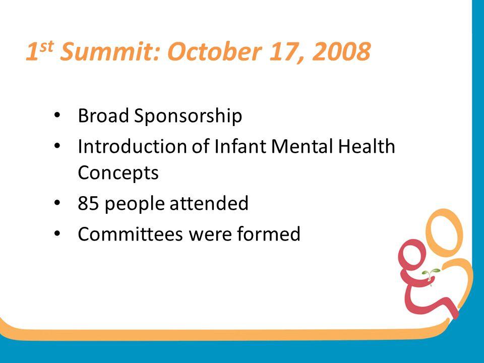 1st Summit: October 17, 2008 Broad Sponsorship