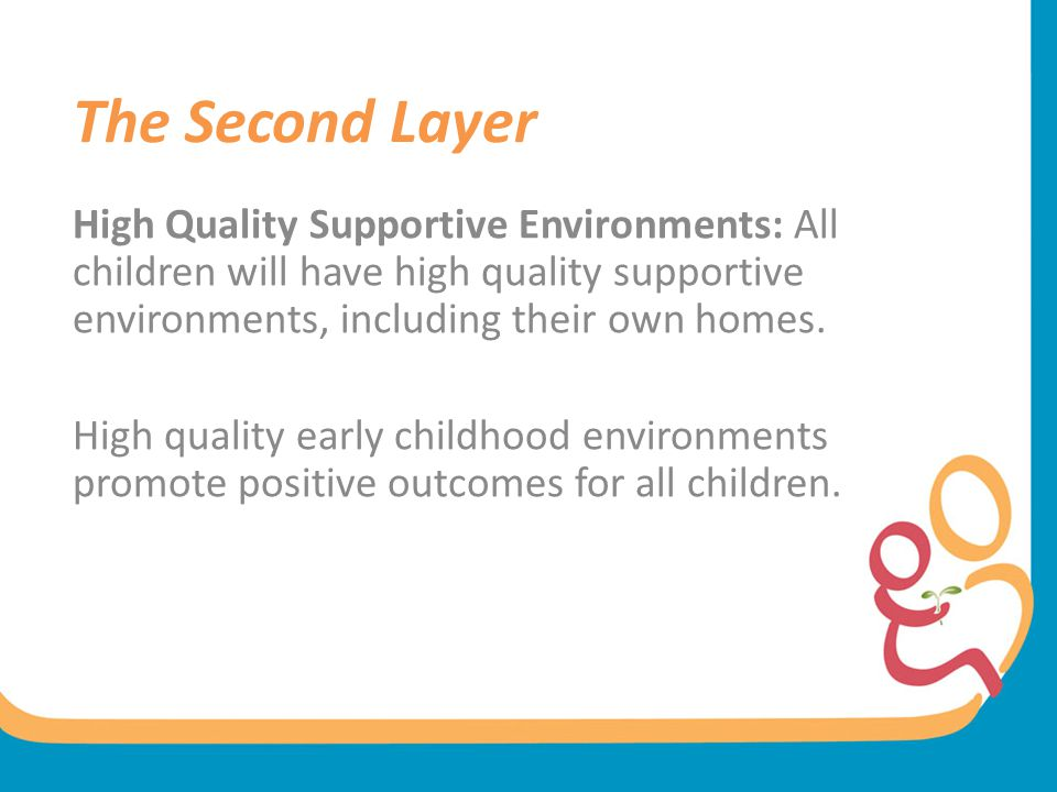 The Second Layer High Quality Supportive Environments: All children will have high quality supportive environments, including their own homes.