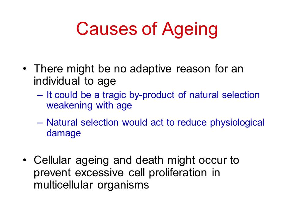 Causes of Ageing There might be no adaptive reason for an individual to age. It could be a tragic by-product of natural selection weakening with age.