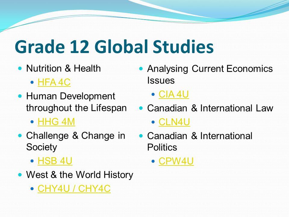 Grade 12 Global Studies Nutrition & Health