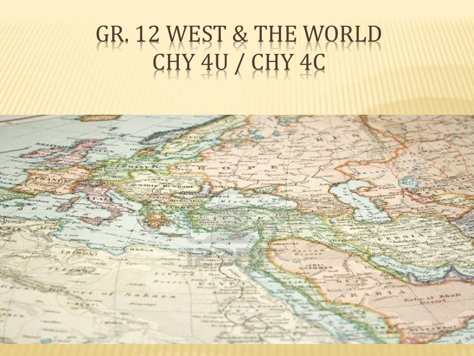Gr. 12 West & The World CHY 4U / CHY 4C