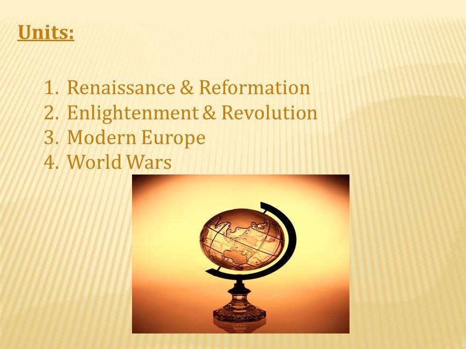 Units: Renaissance & Reformation Enlightenment & Revolution Modern Europe World Wars