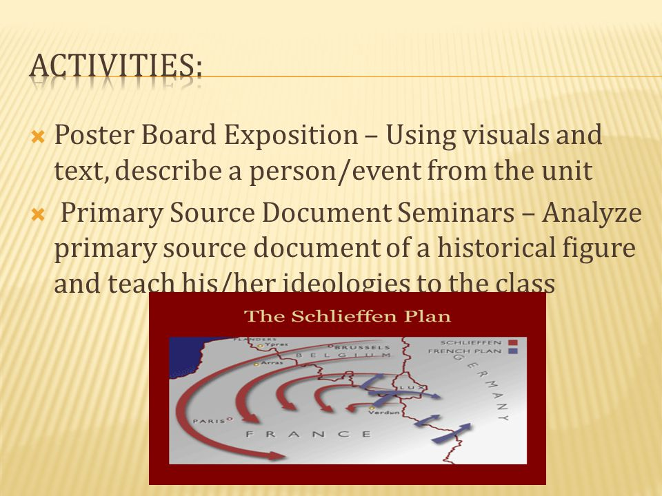 Activities: Poster Board Exposition – Using visuals and text, describe a person/event from the unit.
