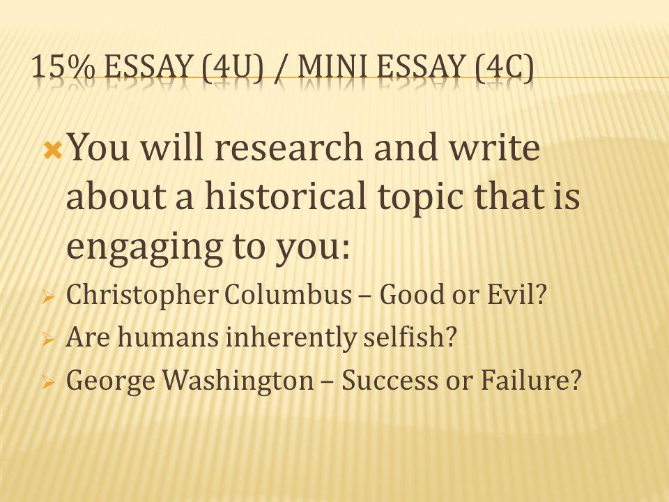 15% Essay (4U) / Mini Essay (4C)