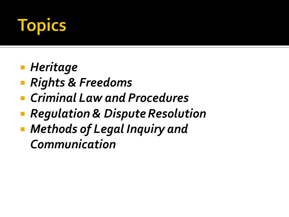 Topics Heritage Rights & Freedoms Criminal Law and Procedures
