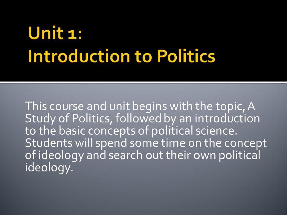 Unit 1: Introduction to Politics