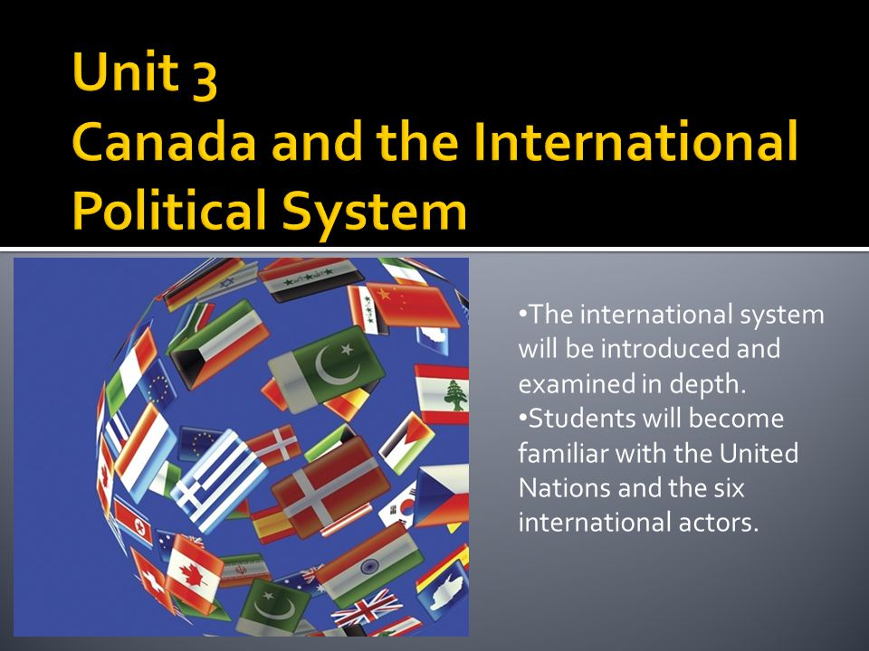 Unit 3 Canada and the International Political System