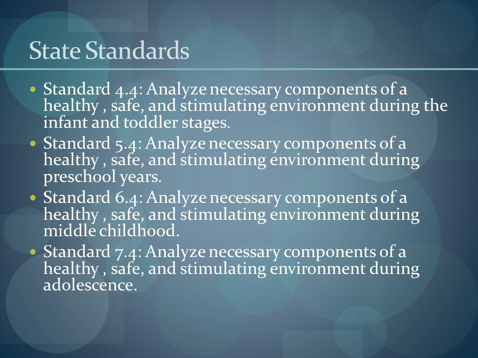 State Standards Standard 4.4: Analyze necessary components of a healthy , safe, and stimulating environment during the infant and toddler stages.