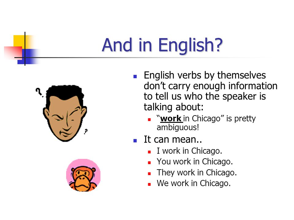 And in English English verbs by themselves don't carry enough information to tell us who the speaker is talking about: