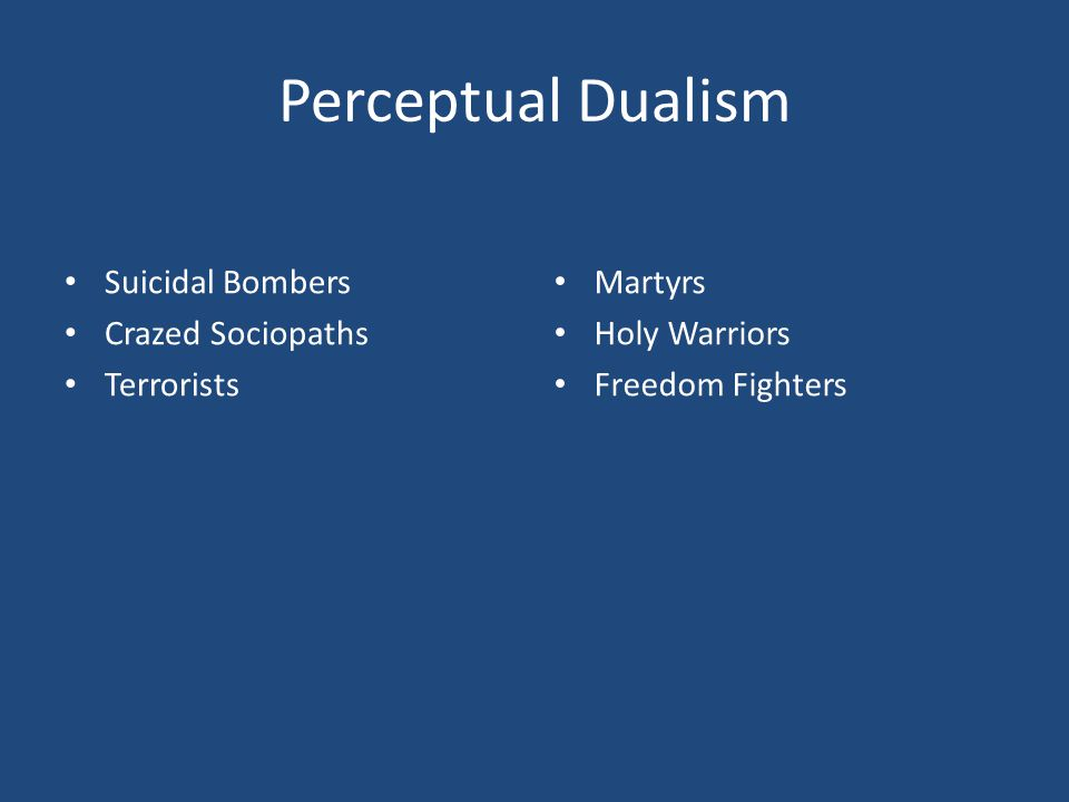Perceptual Dualism Suicidal Bombers Crazed Sociopaths Terrorists