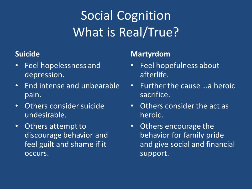 Social Cognition What is Real/True