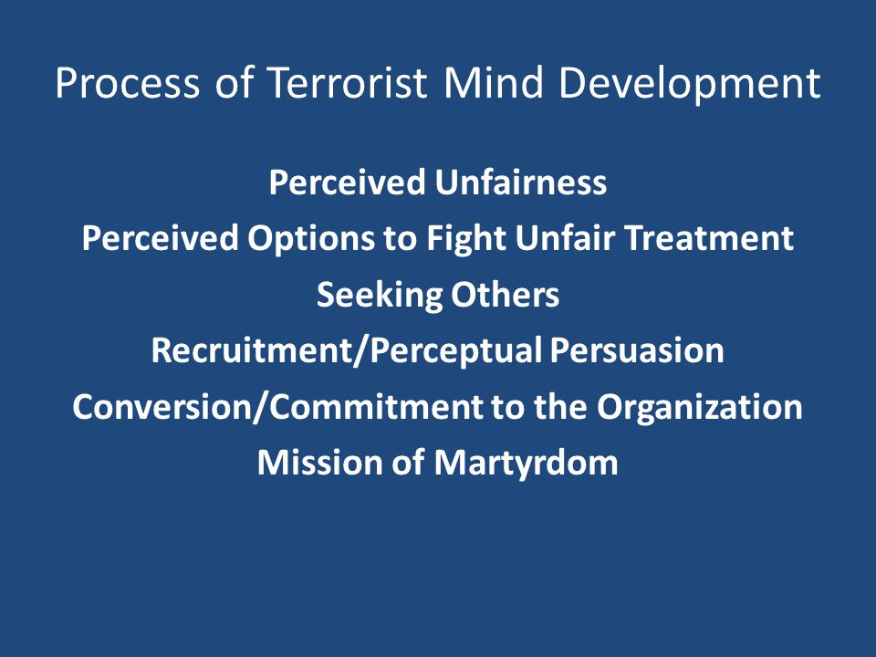 Process of Terrorist Mind Development