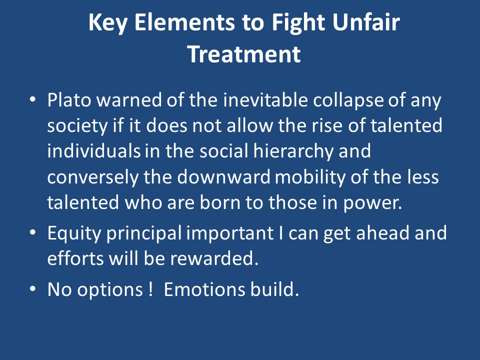 Key Elements to Fight Unfair Treatment