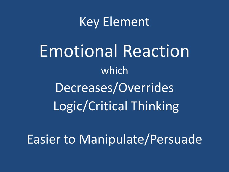 Emotional Reaction Key Element Decreases/Overrides