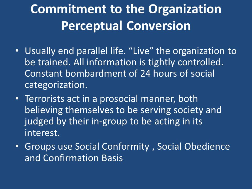 Commitment to the Organization Perceptual Conversion