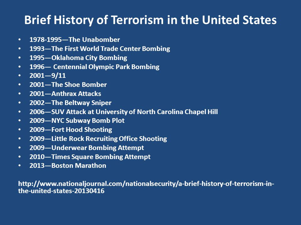 Brief History of Terrorism in the United States