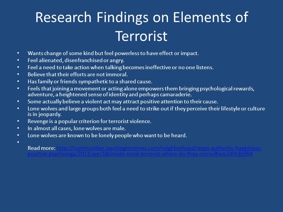 Research Findings on Elements of Terrorist