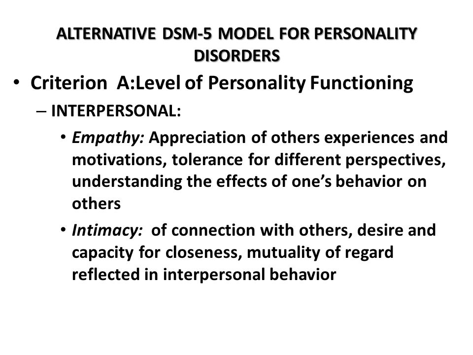 ALTERNATIVE DSM-5 MODEL FOR PERSONALITY DISORDERS
