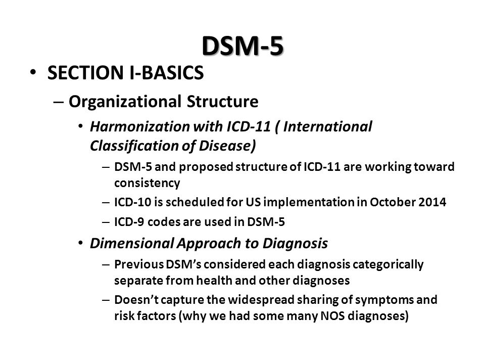 DSM-5 SECTION I-BASICS Organizational Structure