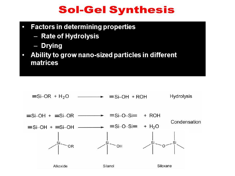 Sol-Gel Synthesis Factors in determining properties.