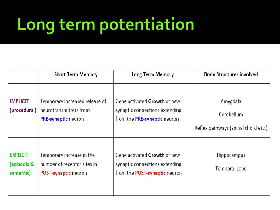 Long term potentiation
