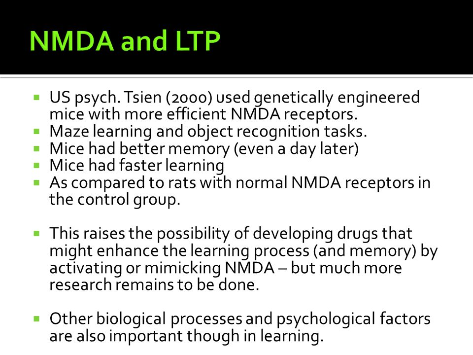 NMDA and LTP US psych. Tsien (2000) used genetically engineered mice with more efficient NMDA receptors.