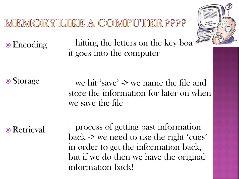 Memory like a computer = hitting the letters on the key board -> it goes into the computer.