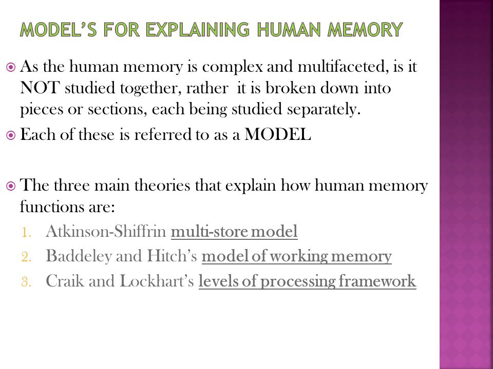 Model's for explaining human memory
