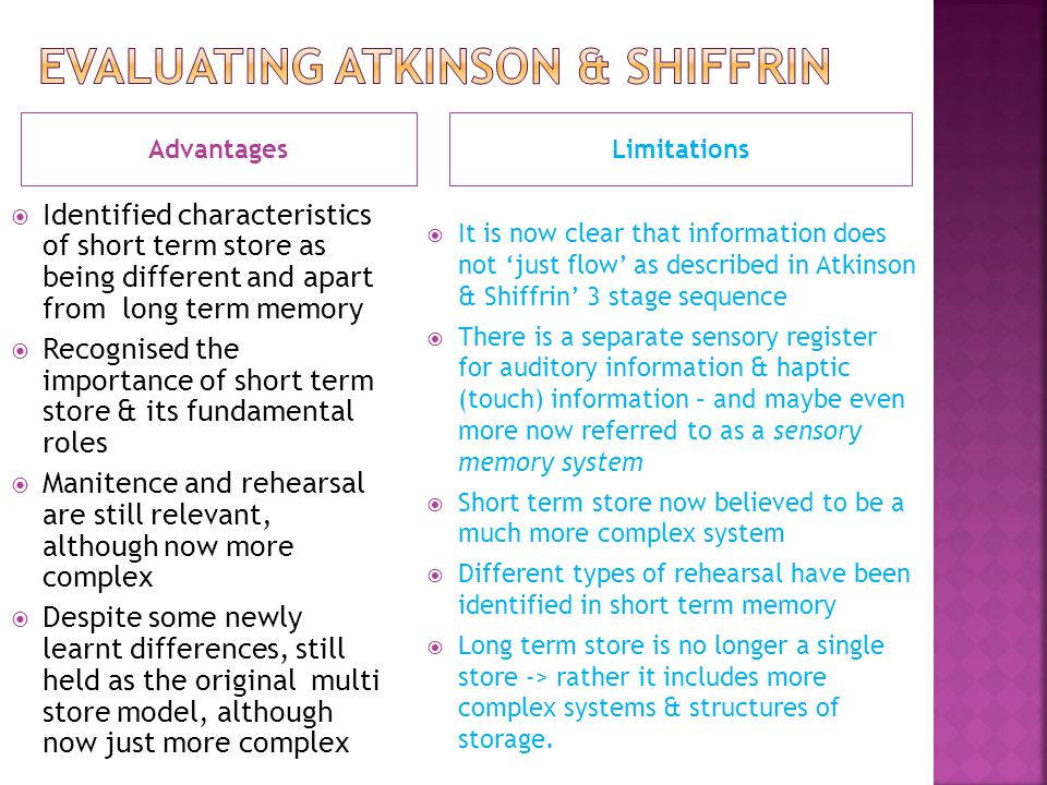 Evaluating Atkinson & Shiffrin