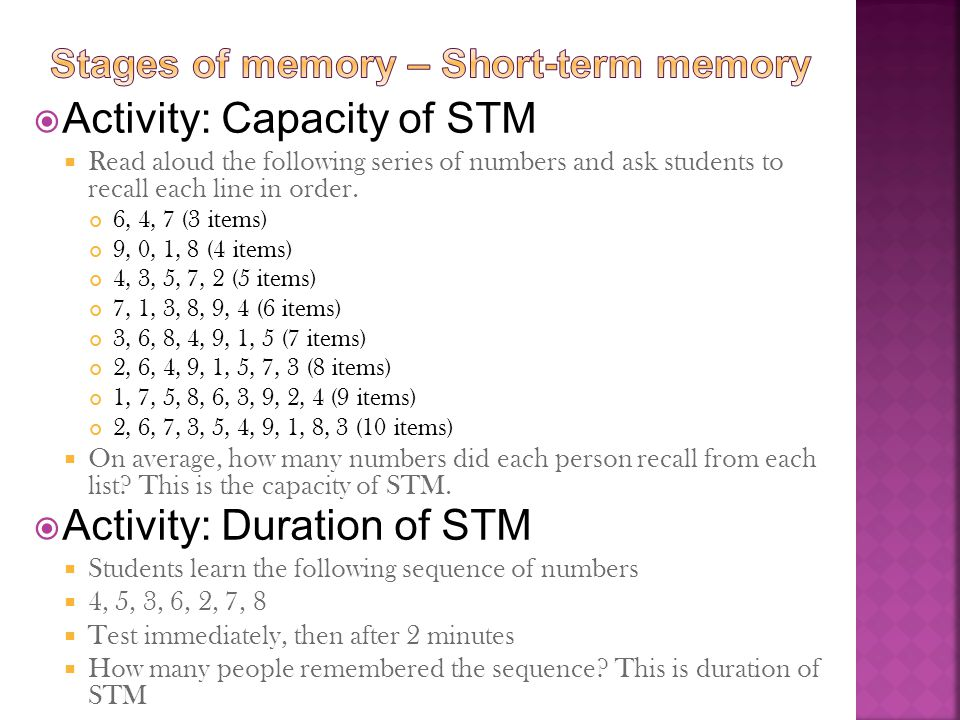 Stages of memory – Short-term memory
