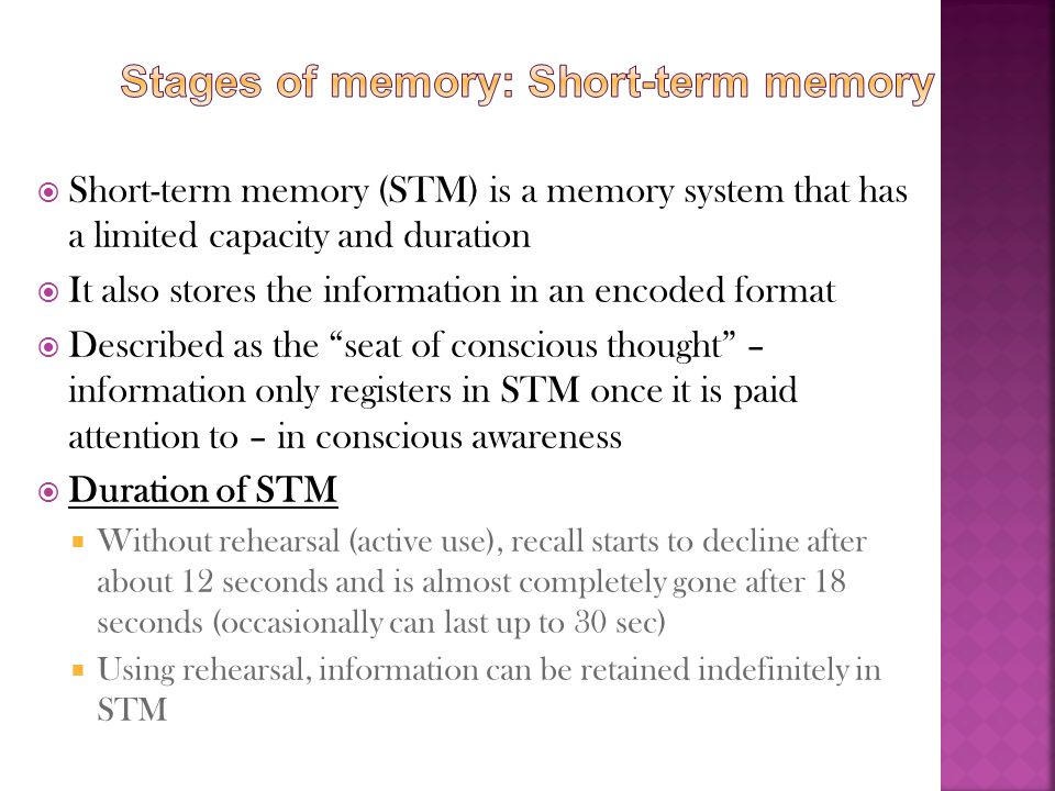 Stages of memory: Short-term memory
