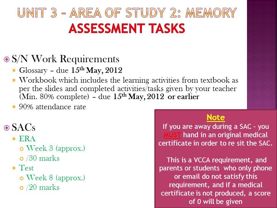 Unit 3 – Area of study 2: Memory Assessment tasks
