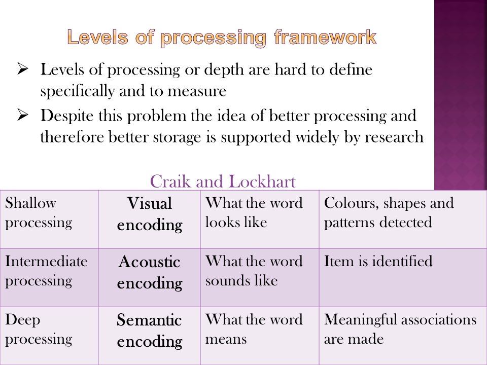 Levels of processing framework