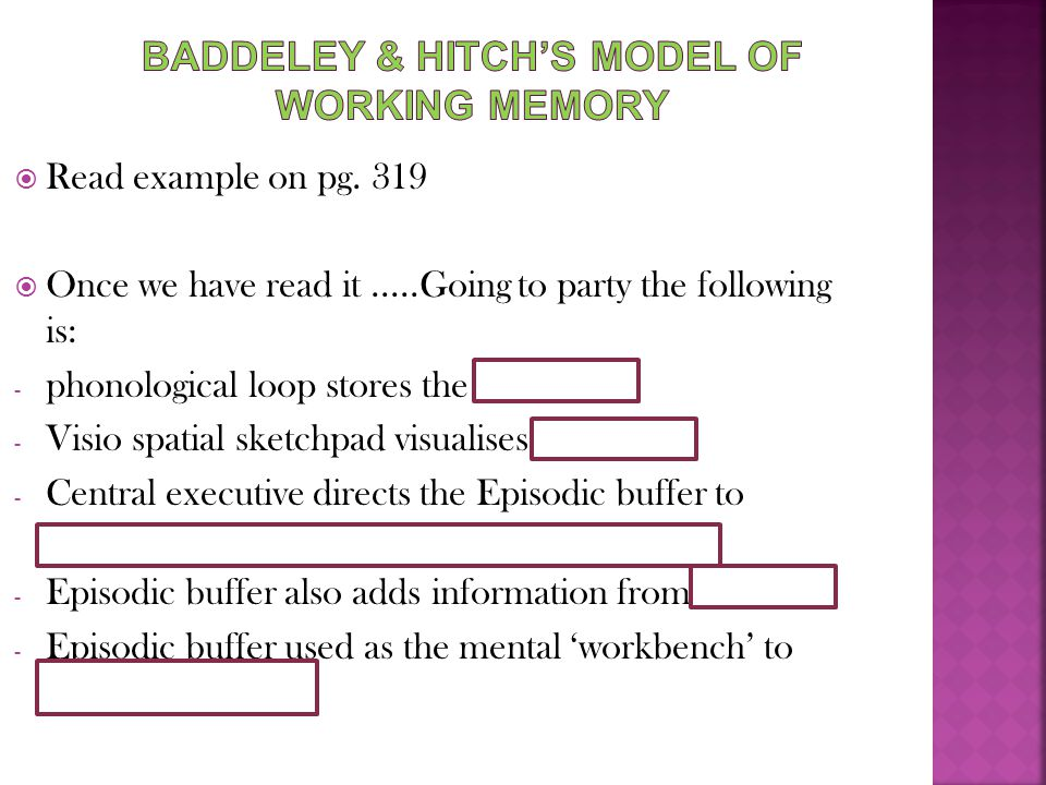 Baddeley & Hitch's model of working memory