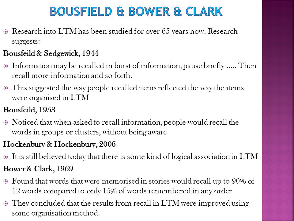 Bousfield & Bower & Clark