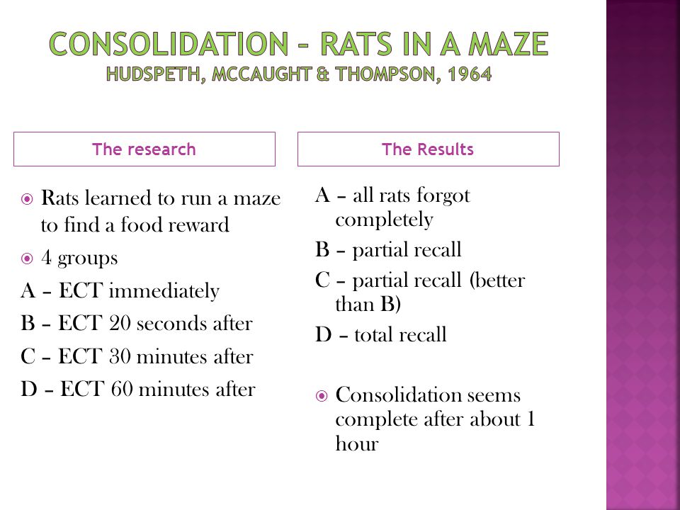 Consolidation – Rats in a maze Hudspeth, mccaught & thompson, 1964
