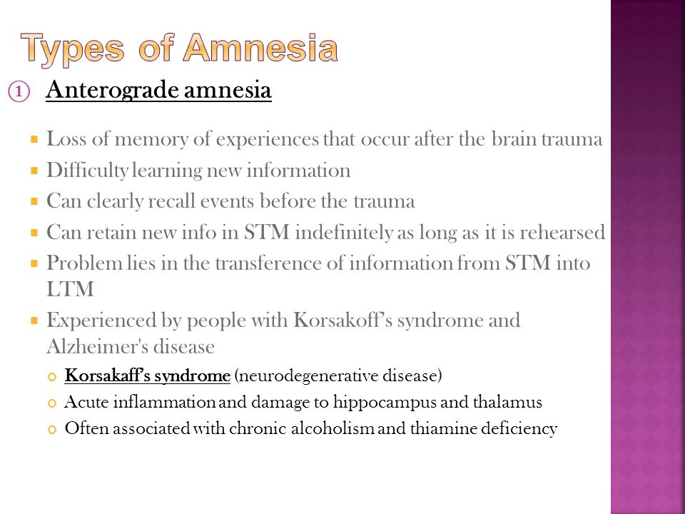 Types of Amnesia Anterograde amnesia