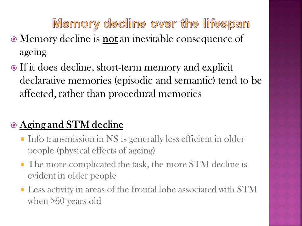 Memory decline over the lifespan