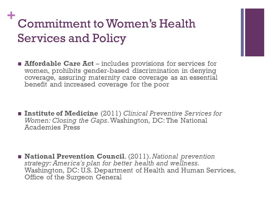 Commitment to Women's Health Services and Policy