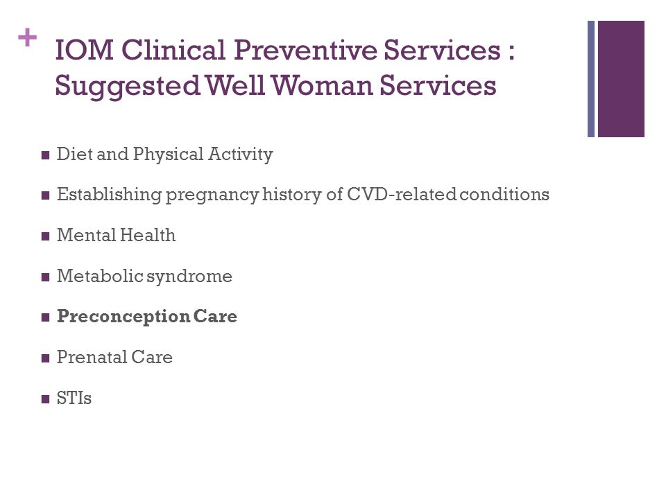 IOM Clinical Preventive Services : Suggested Well Woman Services